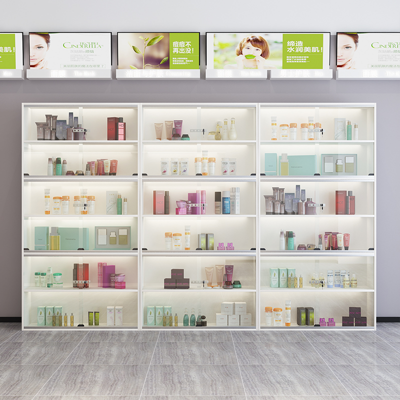 Cosmetics display cabinet glass door with lamp beauty salon skin care product sample container product display cabinet with lock