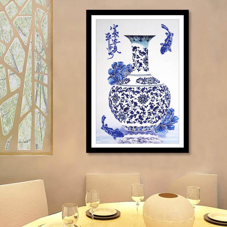 Q包邮异形钻新款D钻石画花瓶青花瓷钻石十字绣中国风客厅砖石画书