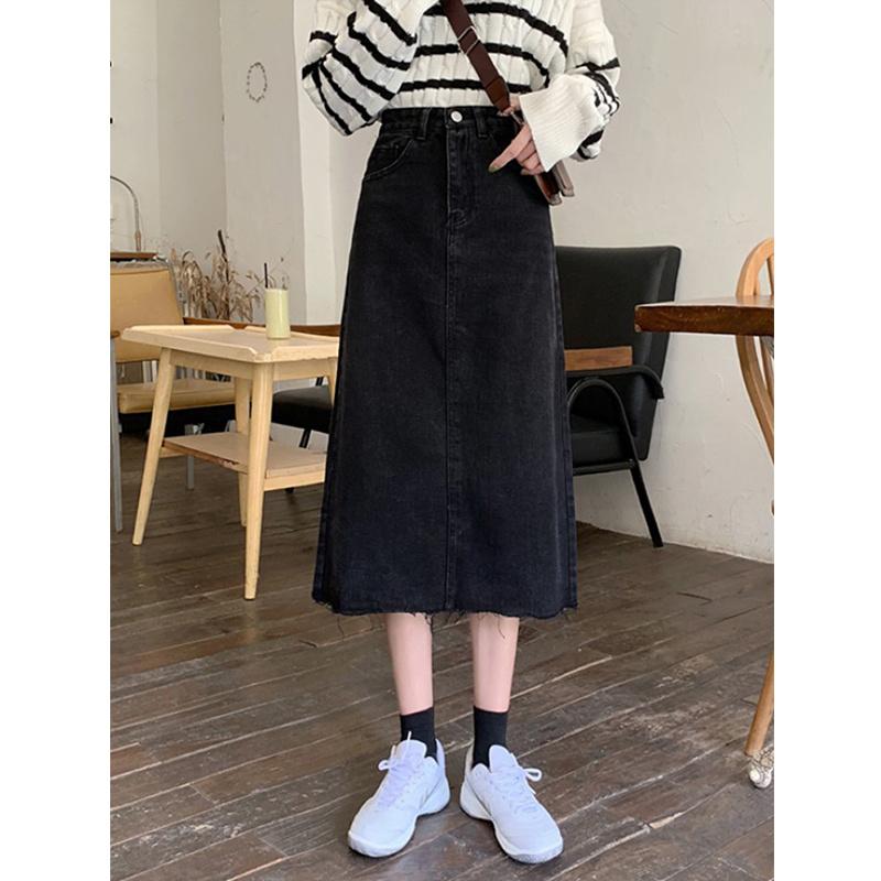 Spring 2021 New Retro High Waist thin medium long chic raw A-line denim skirt womens skirt