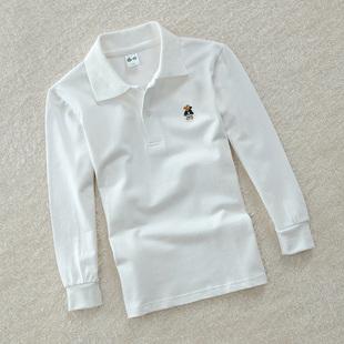 童裝男童長袖T恤純棉秋裝純白色網眼中大童POLO衫兒童體血衫校服