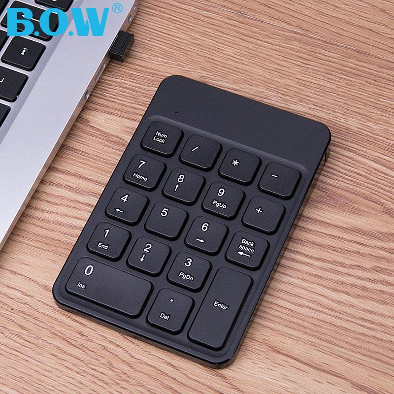 【官方旗舰店】BOW航世 苹果笔记本电脑巧克力无线数字键盘 充电USB外接迷你蓝牙小键盘有线会计财务免切换