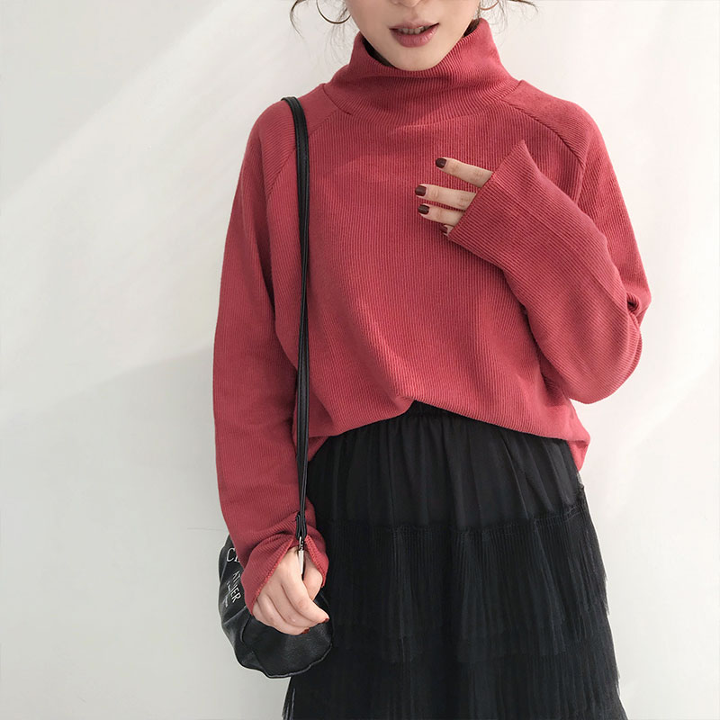 High collar brick red sweater womens Pullover loose Spring Festival lazy top