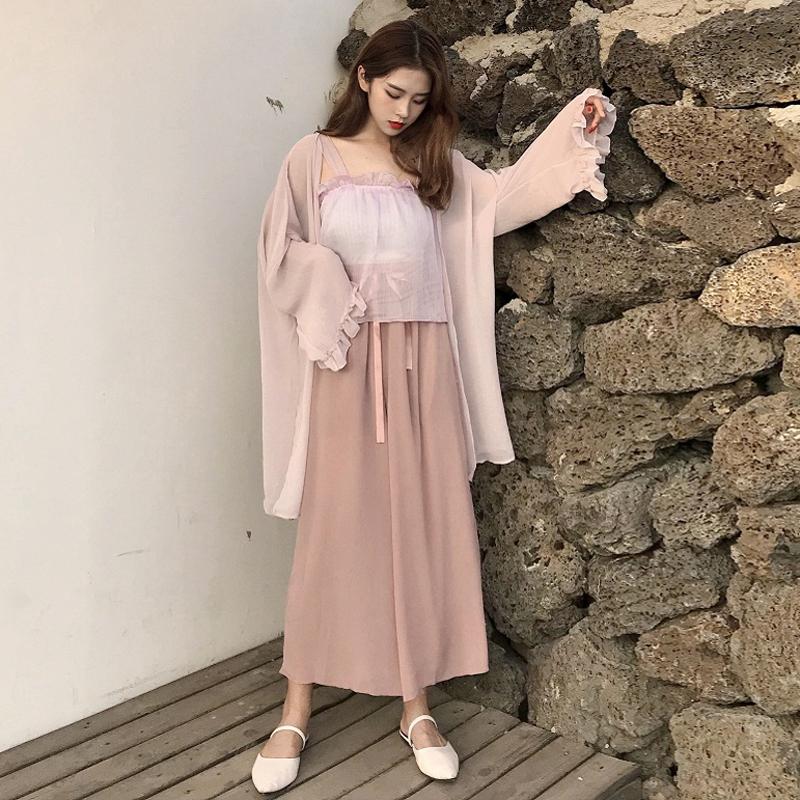 韩版时尚休闲套装夏装女装雪纺抹胸吊带+绑带阔腿裤+防晒衫三件套