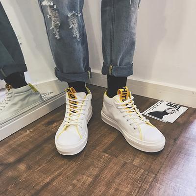 男士秋季简约高帮帆布鞋学生百搭板鞋时尚运动鞋子潮 控88 S15P65
