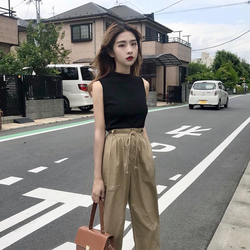网红温婉同款夏装女装新款韩版显瘦无袖T恤背心+九分裤休闲裤套装