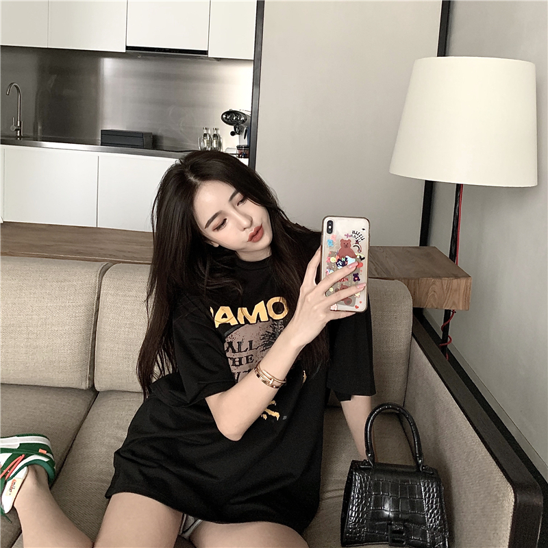 Dont be your girlfriend loose black short sleeve T-shirt womens new Korean retro print casual casual bag mail