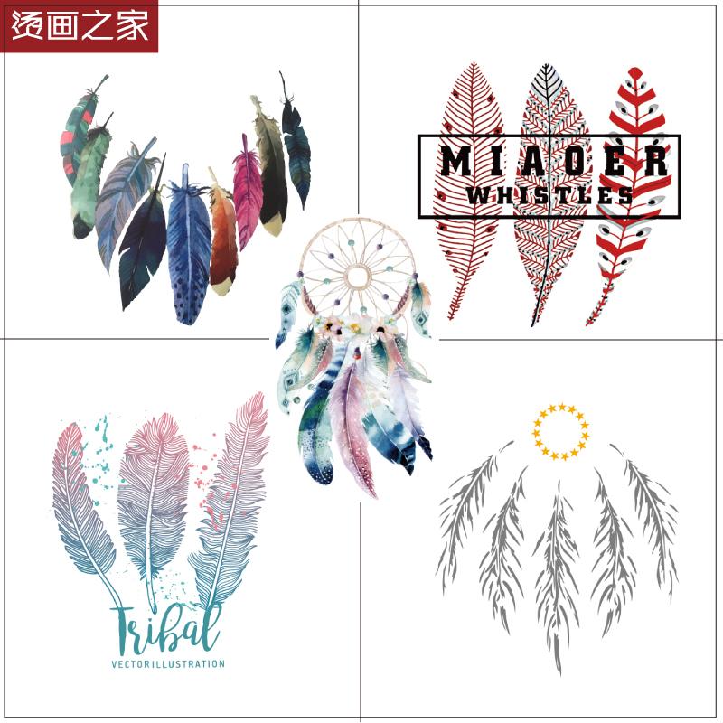 カラーの羽のキャラクターの図案は熱い転写の服のアクセサリにアイロンをかけて布地を貼って、印を付けてTシャツのプリントを貼ります。