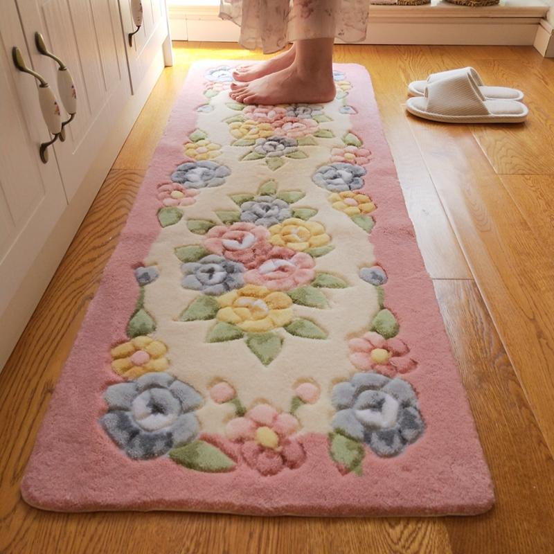 立体剪花玫瑰花朵长条厨房床边垫质量好不好