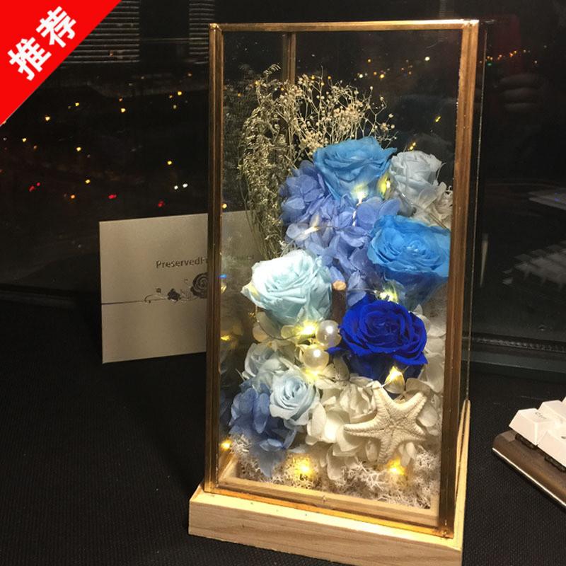 一生挚爱 进口永生花diy玻璃罩玫瑰圣诞节七夕情人节老婆生日礼物