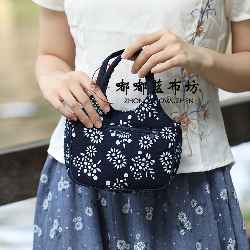 原创手工乌镇纪念品特色蓝印花布棉布手提包小包包买菜包零钱包