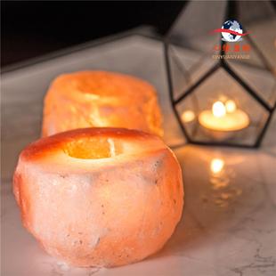 喜马拉雅盐 烛台 水晶盐灯蜡烛摆件浪漫烛光晚餐佛前供佛烛台摆件