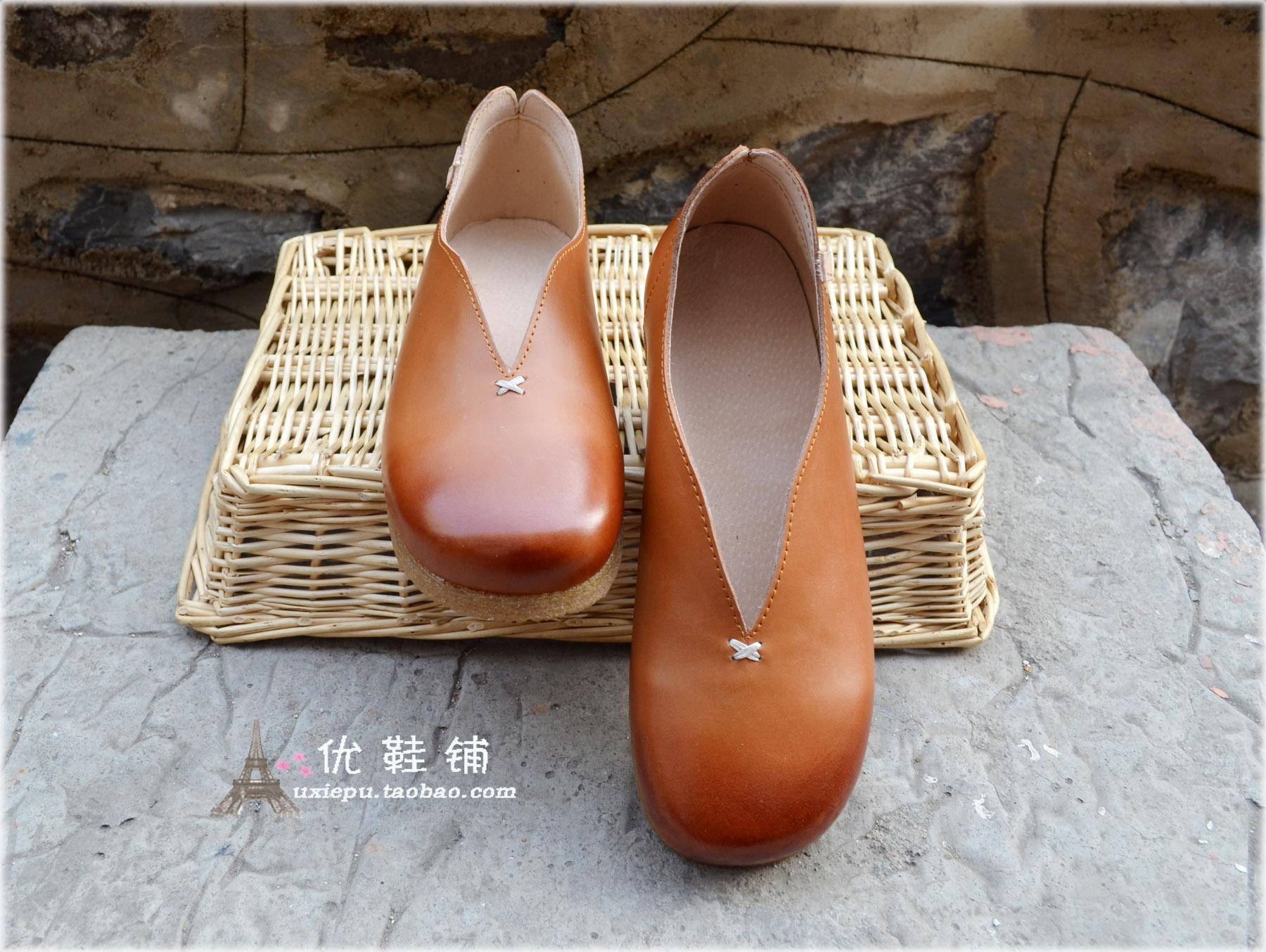 素人舒适复古老北京懒人鞋大小码平跟低帮女单鞋