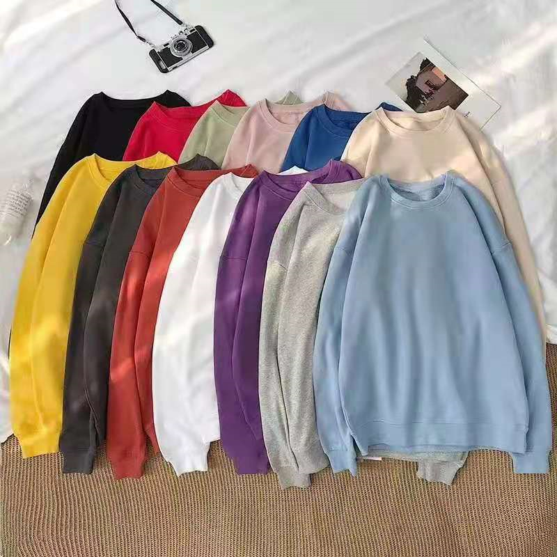2021 new couple fashion sweater loose Pullover pure cotton round neck hooded top bottomed shirt long sleeve