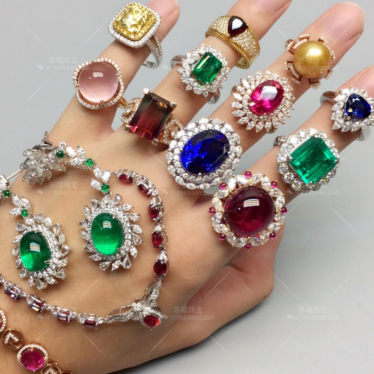 Природный цвет сокровище турмалин кольцо красный и синий сокровище изумруд опал 18K мозаика обработка сделанный на заказ