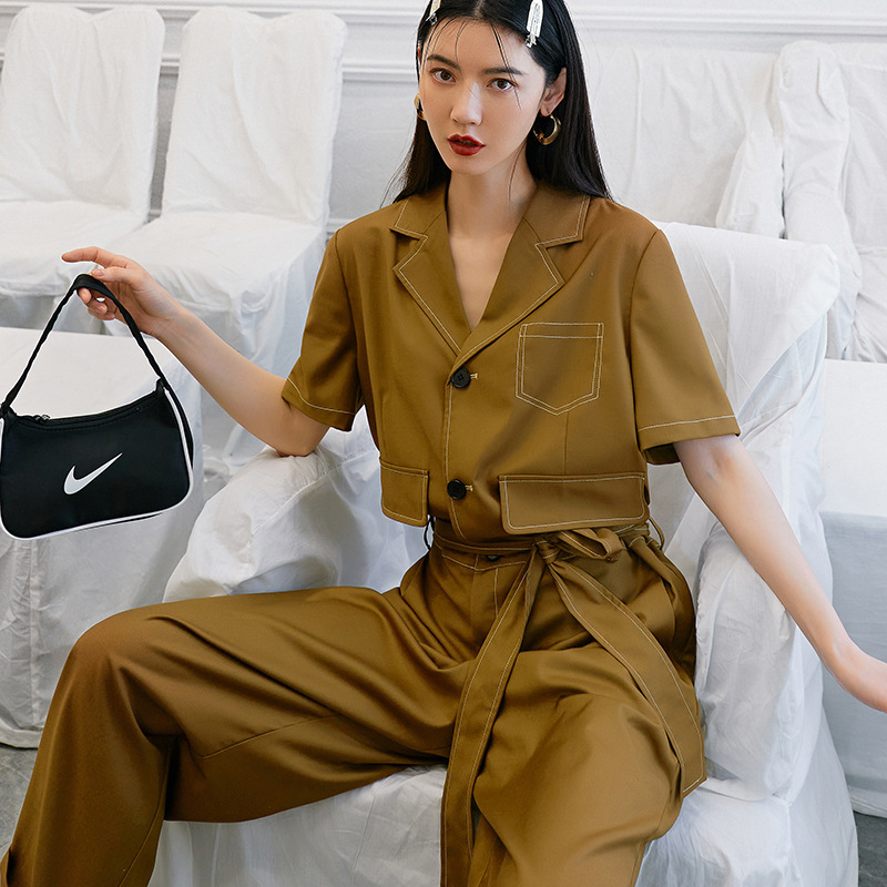 Original high waisted and slim work suit style Jumpsuit womens summer 2020 short sleeve wide leg Jumpsuit thin Jumpsuit
