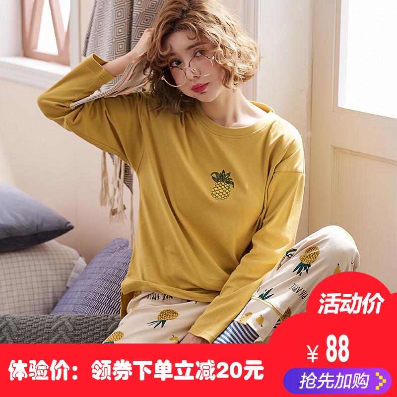 春秋纯棉睡衣女韩版甜美学生可外穿居家服套装全棉家居服女士长袖