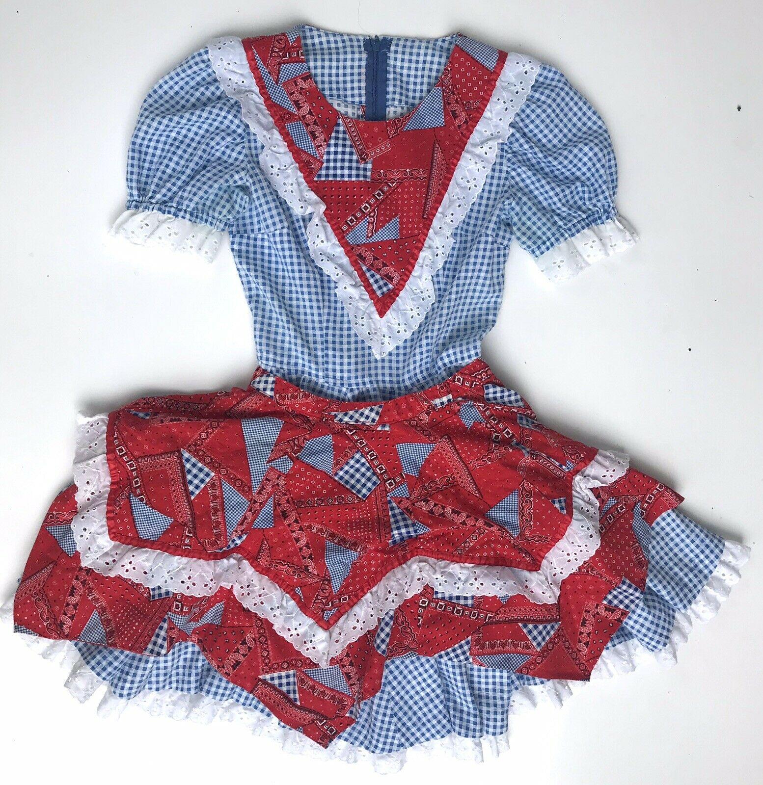 200617姑妈vintage古着少女民族风格子大摆古董连衣裙带围裙
