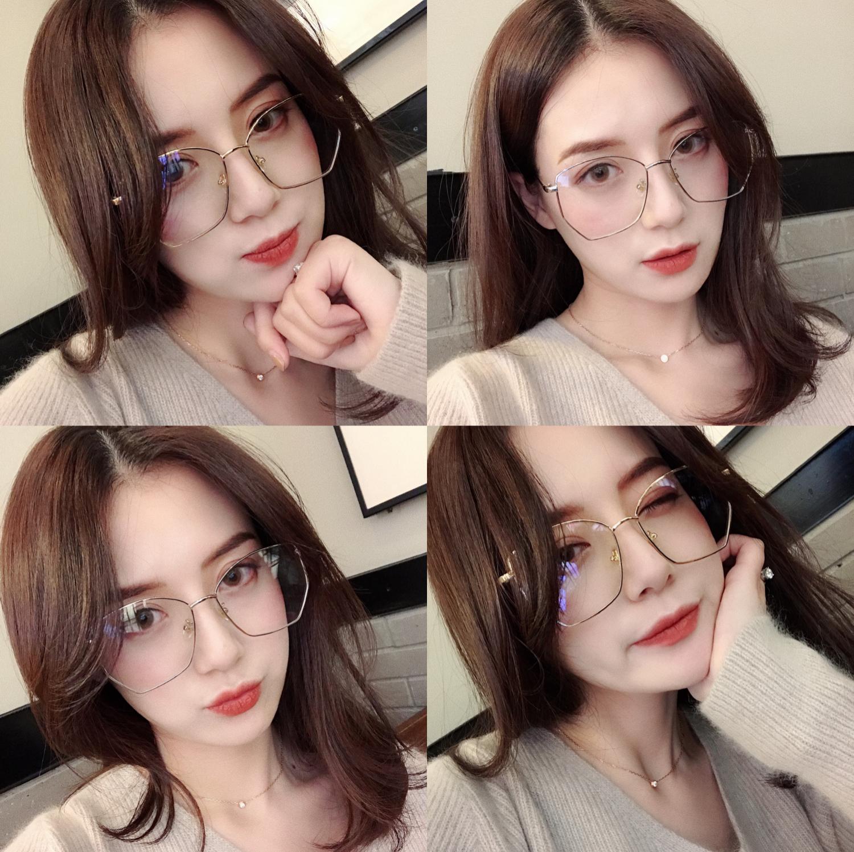 朝子 眼镜框女网红款韩版潮平光镜眼镜多边形个性复古瘦脸镜框