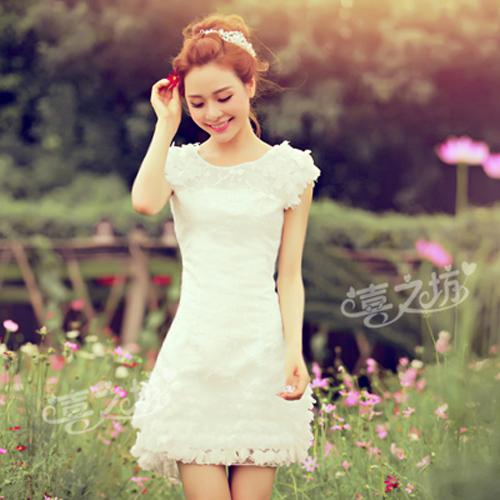 伴娘短款小禮服裙新娘結婚婚紗晚禮服春夏 蕾絲敬酒服伴娘服晚