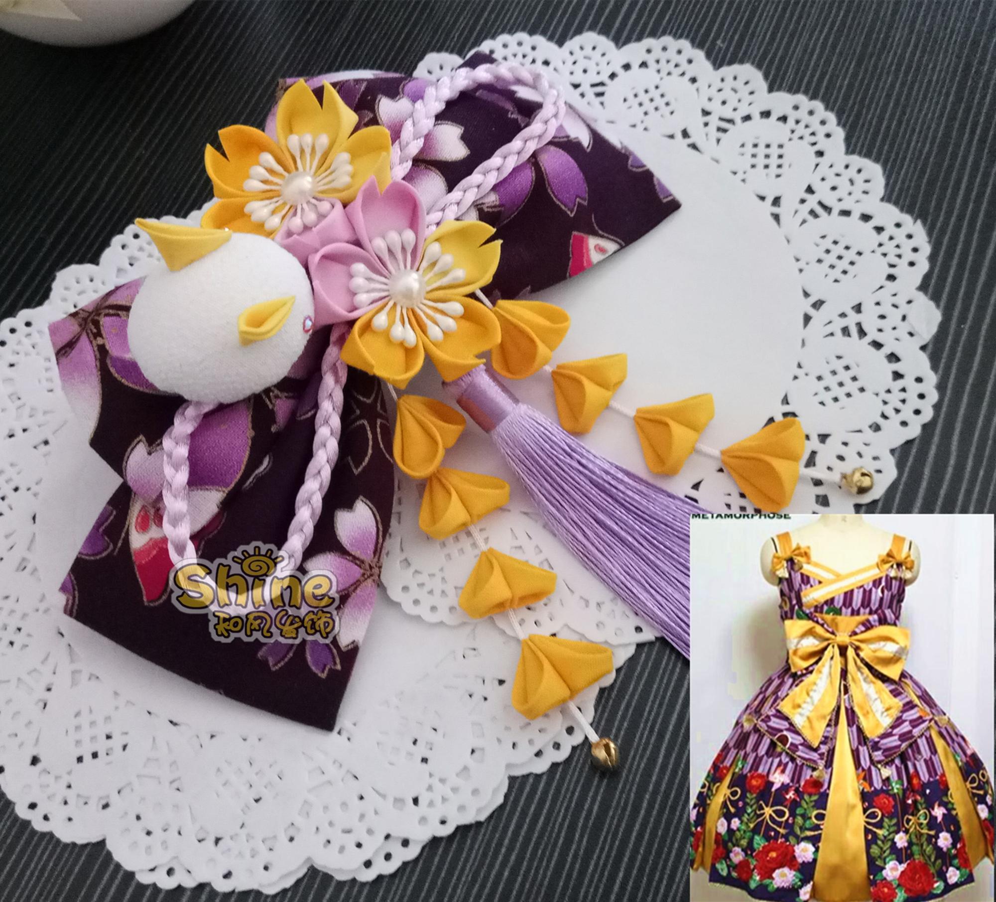 Meta小町和风jsk和服紫色头饰 洛丽塔蝴蝶结发夹日式手作发饰包邮