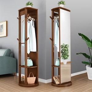 卧室试衣镜多功能全身镜子穿衣镜衣架 一体铁旋转家用实木立式