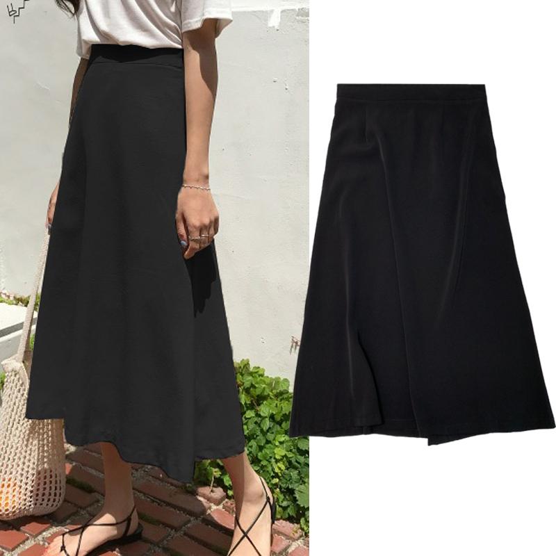 (用1元券)中长款黑色高腰a字半身裙子女夏2019新款适合胯大腿粗的裙子女裙