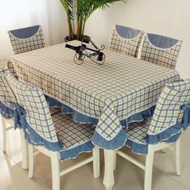 茶几桌布布艺长方形棉麻北欧格子餐桌布椅垫餐椅套装家用椅子套罩