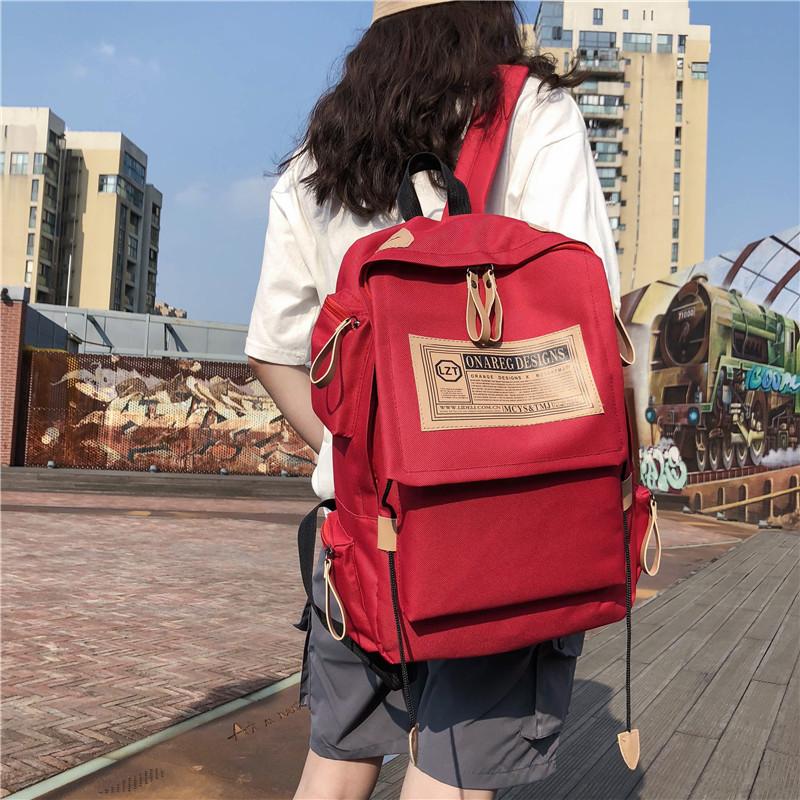 帆布双肩包大容量旅行电脑男士背包情侣学院风女初高中学生书包