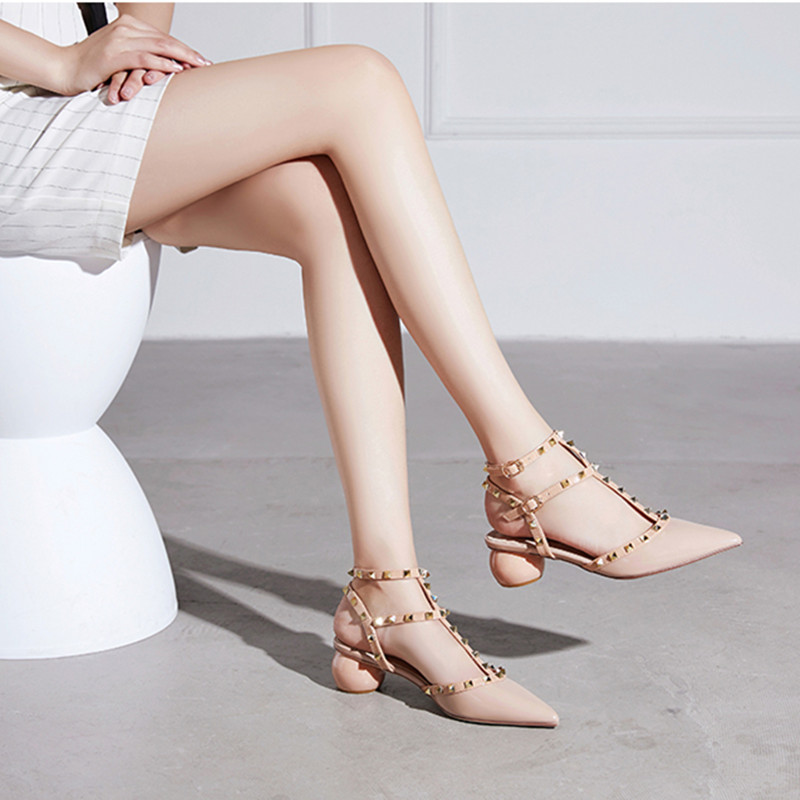 Pointed rivet sandals womens new summer 2020 thick heel medium heel shallow mouth single shoe button top high heel shoes