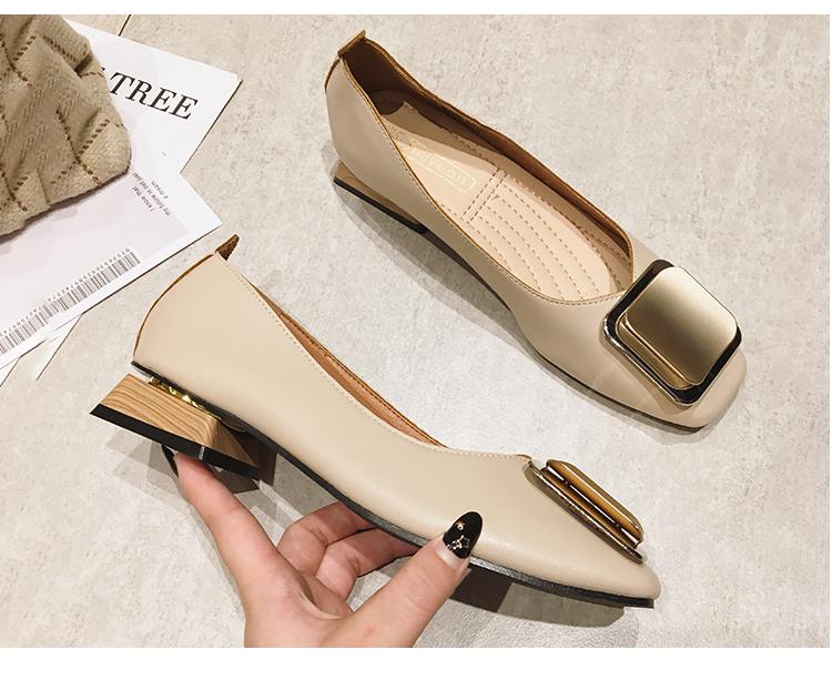 软皮单鞋女粗跟2021新款方头浅口瓢豆豆鞋女奶奶鞋玛丽珍鞋女中跟