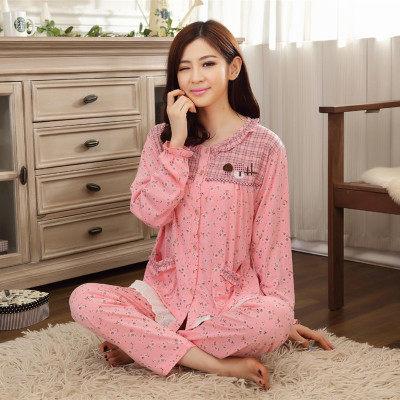 秋冬季韩版纯棉睡衣女长袖 全棉 100%纯棉开衫全棉宽松大码家居服