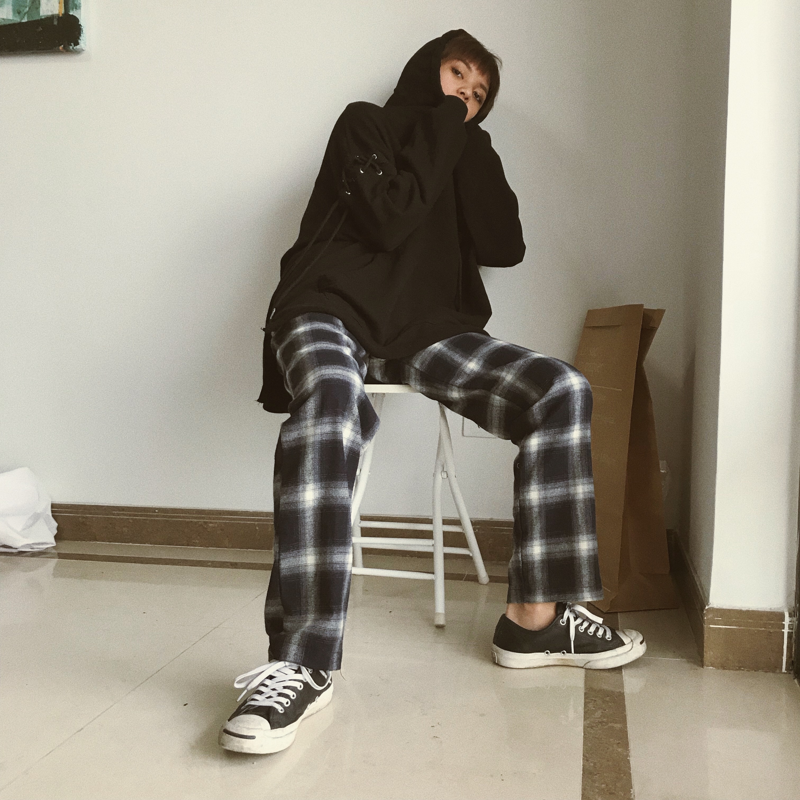 Spring and autumn Korean version of ulzzang Harajuku ins the same check pants for men and women loose lovers straight casual pants trend