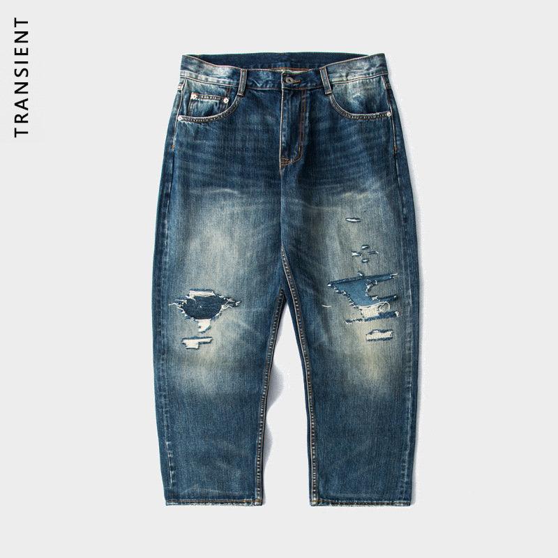 TRS男装 2021SS日系工装14OZ赤耳洗水破洞贴布补丁宽松男式牛仔裤