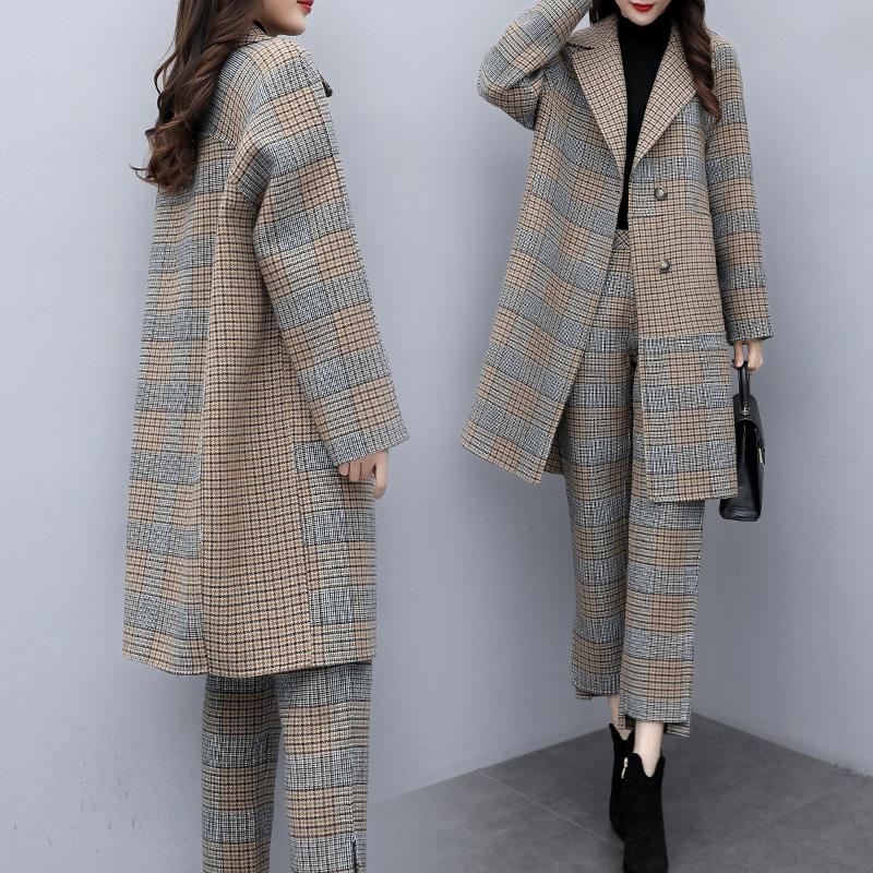 2019新款女装冬两件套裤大码格子毛呢外套阔腿裤休闲时尚套装女潮