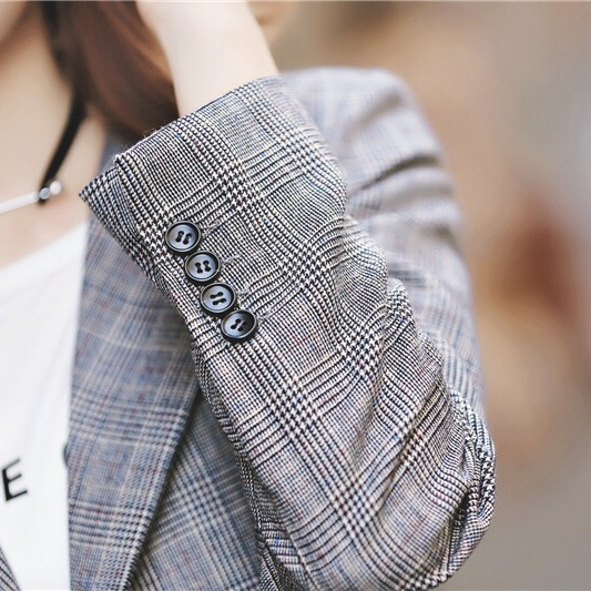 Miss y original custom-made spring and autumn decoration Plaid Plaid short casual Blazer womens coat temperament suit