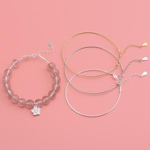 925纯银螺丝手镯 手工DIY串珠螺旋手链 可串珠子吊坠穿心链手环