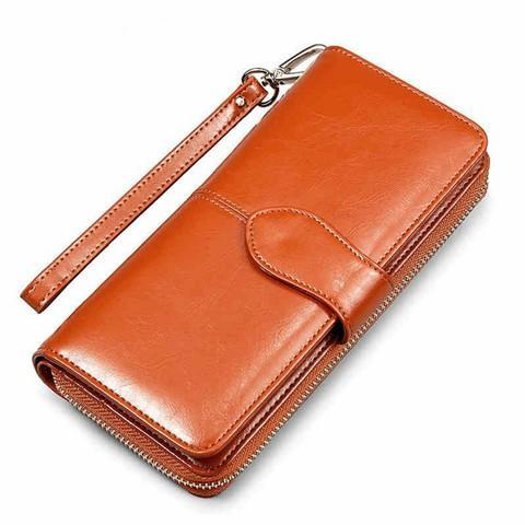 2020 new womens wallet womens long money with oil wax leather handbag womens three fold zipper womens handbag