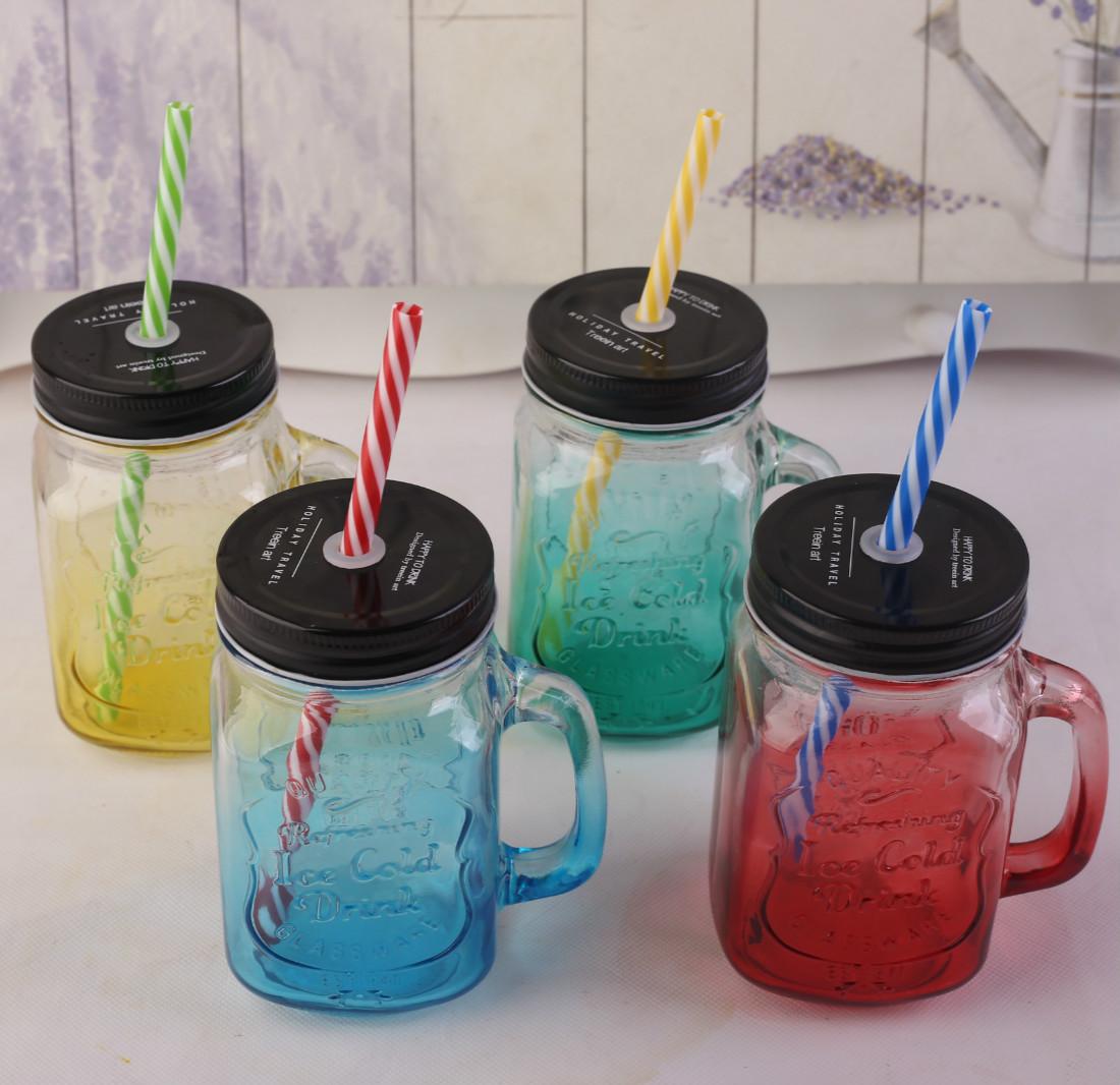 包邮带灯公鸡杯玻璃饮料杯渐变色奶茶杯/果汁杯彩色把子杯/吸管杯
