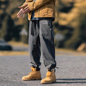 净化眼球秋冬原创自制加厚牛仔潮牌宽松直筒抽绳束脚工装裤收脚裤