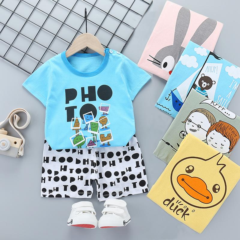 2020新款夏季儿童短袖两件套动漫套装男童棉韩版女童T恤短裤包邮