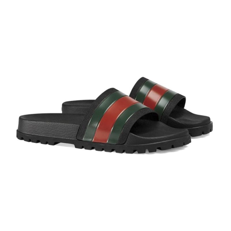 GUCCI古驰 春夏新款男士绿红绿饰条纹织带拖鞋429469