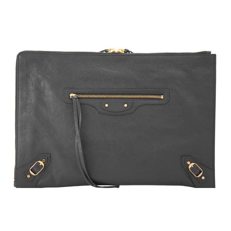 362967年新款灰色羊皮铆钉休闲手拿包18巴黎世家Balenciaga