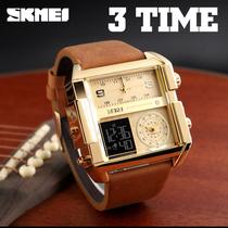 欧美风方形手表男士商务大表盘韩版多功能三显石英表时尚霸气腕表