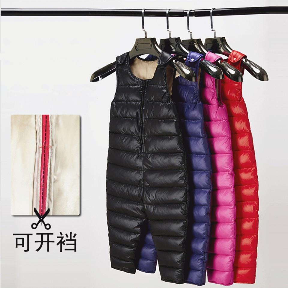 Новый ребенок брюки вниз ребенок сиамский ремень брюки вниз мальчиков девочки тонкая осень и зима верхняя одежда теплые брюки