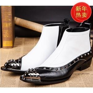 韩版潮流高帮高跟尖头男靴子铁头牛皮英伦休闲男鞋发型师增高靴子
