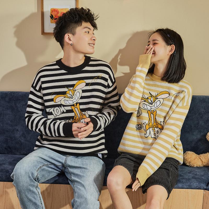 [猫和老鼠联名]唐狮2020秋冬新款情侣毛衣男装圆领条纹针织衫潮流