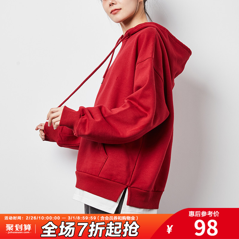 Tangshi 2020 autumn and winter new fake two-piece sweater women plus velvet hooded Korean loose lazy blouse red tide