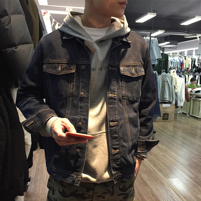 唐狮牛仔外套男春秋韩版潮流港风牛仔上衣修身帅气牛仔夹克牛仔服