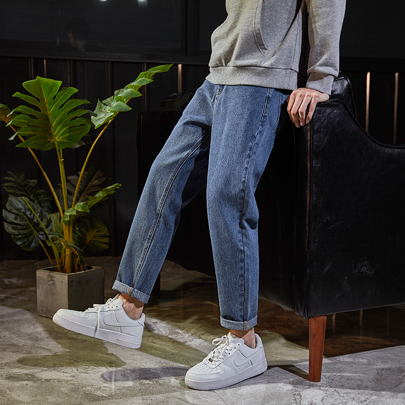 Tang Shi 2020 spring new straight tube jeans men's loose fashion brand Harun men's jeans pants Han bianchao