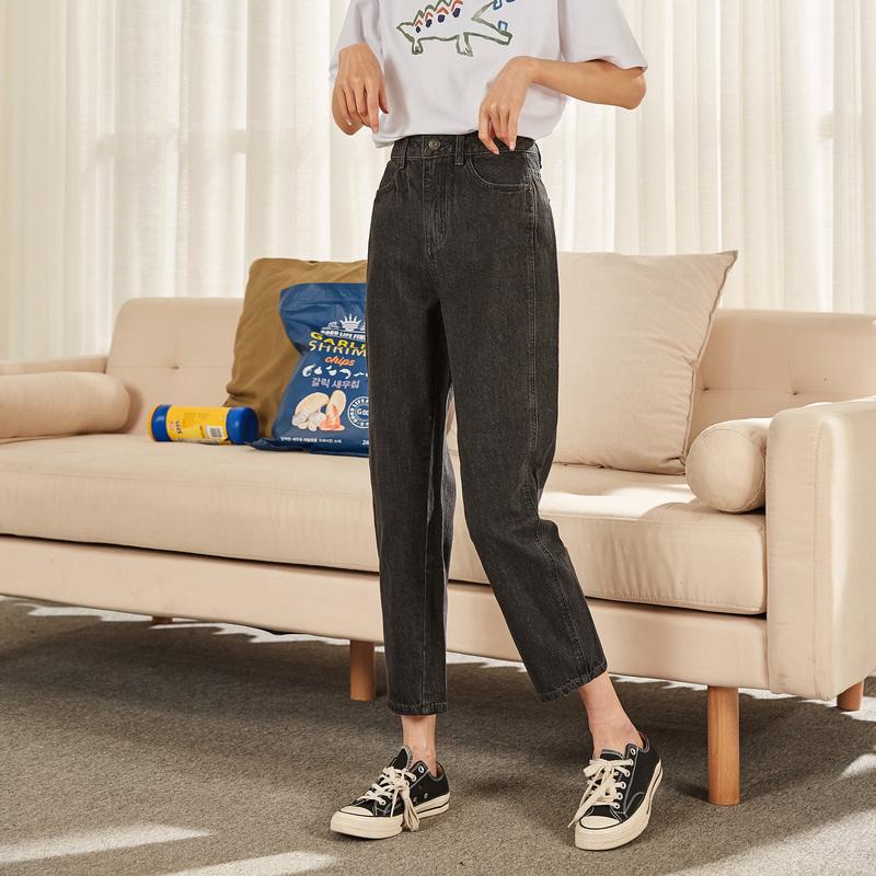 唐狮2020秋季新款牛仔裤女直筒宽松显瘦裤子女ins潮烟灰色女裤Z